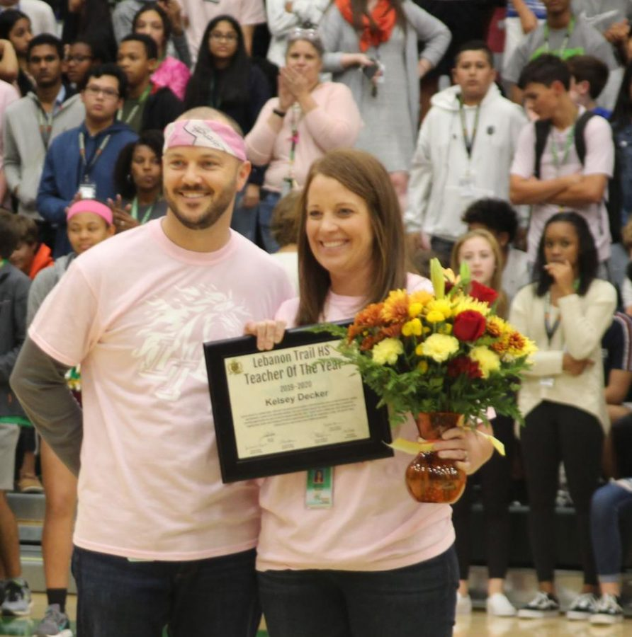 Pink Out Pep Rally on Oct. 24 - Kelsey Decker wins Teacher of the Year for LT