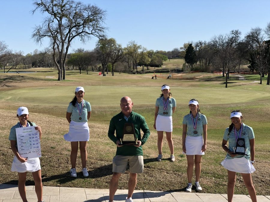 The LTHS Varsity Girls extended their streak of district titles to four in a row this week by taking the District 9 AAAAA title at Sherrill Park GC #1  by 38 shots over 2nd place Liberty Redhawks.